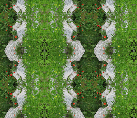 Flowers in the stone wall fabric by pinkchamplain on Spoonflower - custom fabric