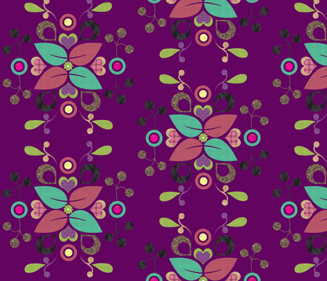 folklore_damask_purple fabric by snork on Spoonflower - custom fabric