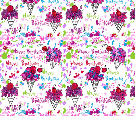 Yummy Ice Cream Cone Sundaes 1st Birthday party fabric by rosannahope on Spoonflower - custom fabric