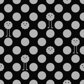 Monster Polka Dots - Black