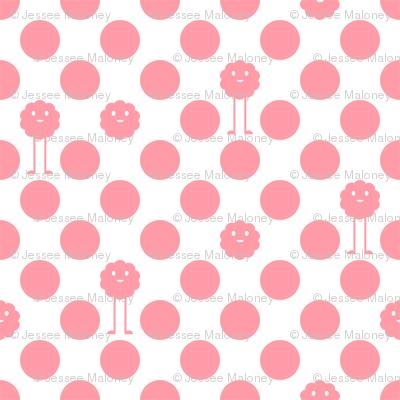 Monster Polka Dots - Girl (white background)