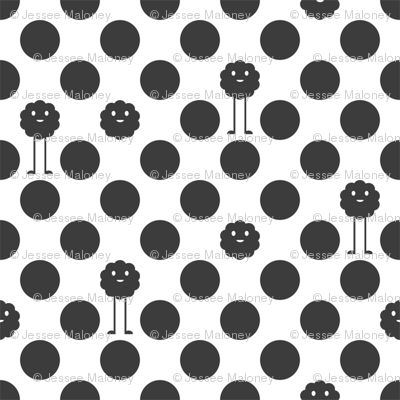 Monster Polka Dots - Black and White
