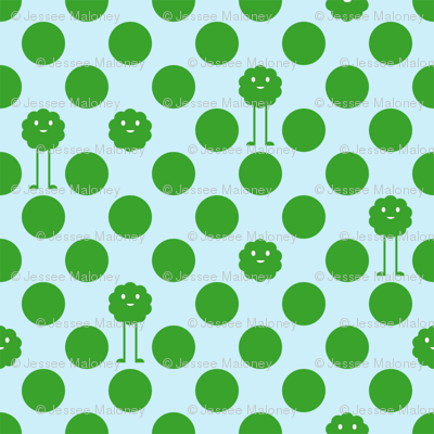 Monster Polka Dots - Boy (green dots)