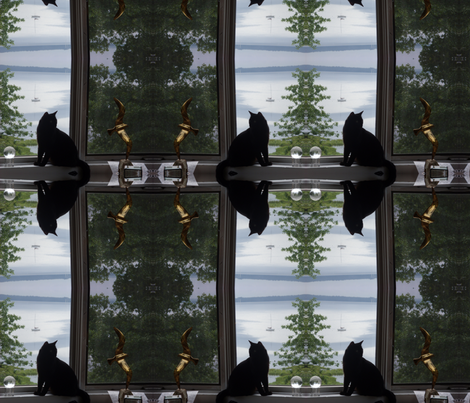 black cat & brass gull fabric by pinkchamplain on Spoonflower - custom fabric