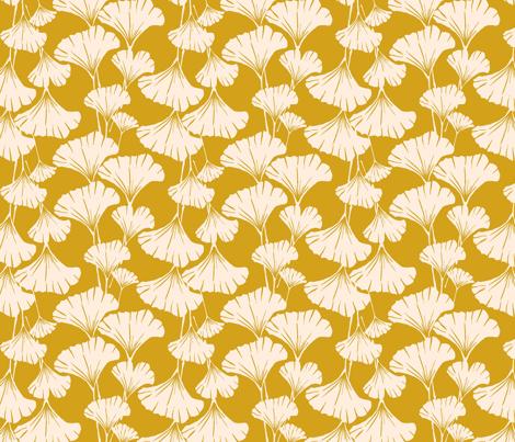 Royal Ginkgo - mustard yellow- fabric by frumafar on Spoonflower - custom fabric