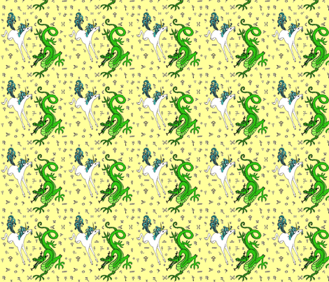 the odd couple:unicorn and dragon fabric by zomo on Spoonflower - custom fabric