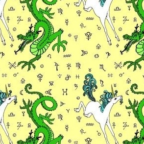 the odd couple:unicorn and dragon