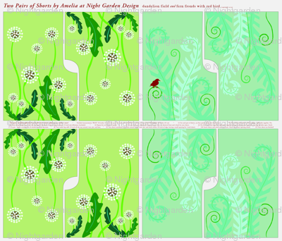 Shorts: Dandelion Field & Fern Fronds with Red Bird