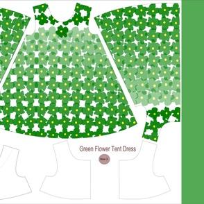 Green Flowers Tent Dress - Size 3