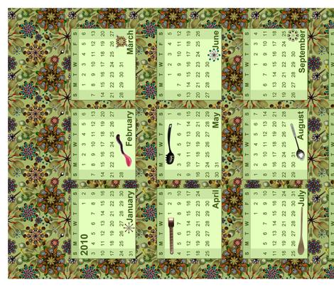 spoon-wall-calendar fabric by madam0wl on Spoonflower - custom fabric