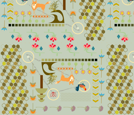 foxy pattern fabric by junej on Spoonflower - custom fabric