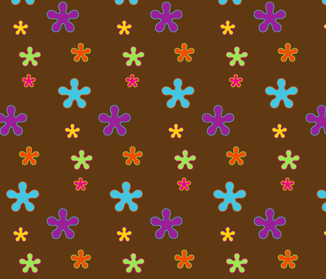 happy_flowers_brown fabric by snork on Spoonflower - custom fabric