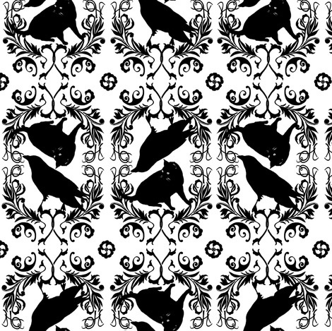 kitty raven brocade fabric by trollop on Spoonflower - custom fabric