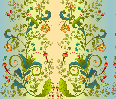 RussianFloral - green fabric by leslipepper on Spoonflower - custom fabric