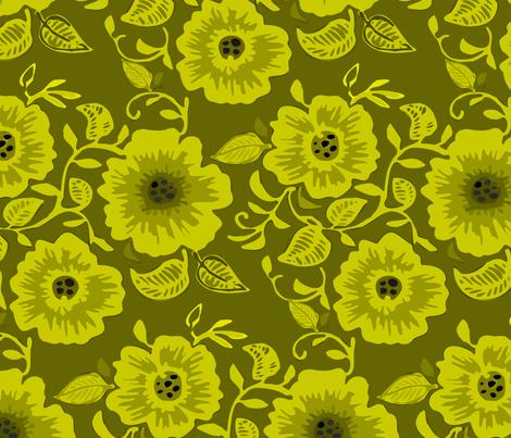 Green flora fabric by renule on Spoonflower - custom fabric