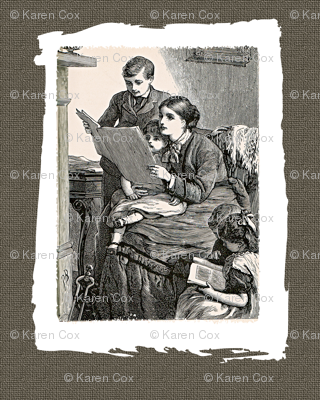 For The Love of old Books, mother and children