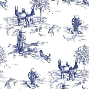 Fantasy Toile de Jouy - Donkeys, Dogs, and Letterpresses
