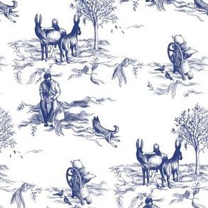 Fantasy Toile de Jouy - Donkeys, Dogs, and Letterpresses