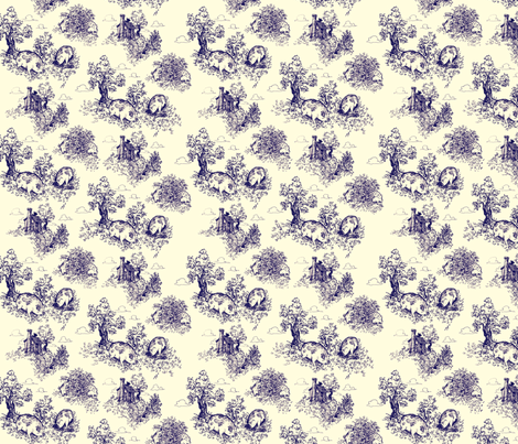 Pastoral Piggy Toile fabric by tinet on Spoonflower - custom fabric