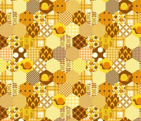 Orange Hexagon fabric by nanetteregan on Spoonflower - custom fabric