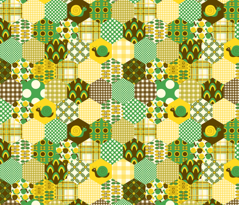 Green Hexagon fabric by nanetteregan on Spoonflower - custom fabric