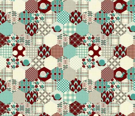 Blue Hexagon  fabric by nanetteregan on Spoonflower - custom fabric