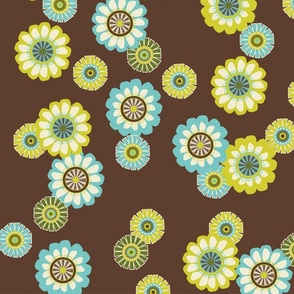 Mod Flowers Brown