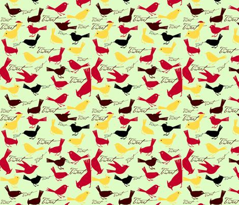 Tweeting fabric by cabinpressstudio on Spoonflower - custom fabric