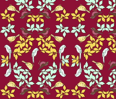 bird wreath red fabric by mytinystar on Spoonflower - custom fabric
