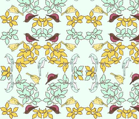 bird wreath mint fabric by mytinystar on Spoonflower - custom fabric