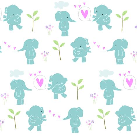 Sweetheart Elephants  fabric by zoel on Spoonflower - custom fabric