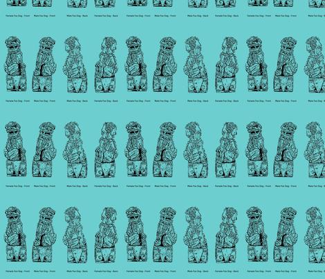 Vintage Foo Dogs fabric by ecodomestica on Spoonflower - custom fabric
