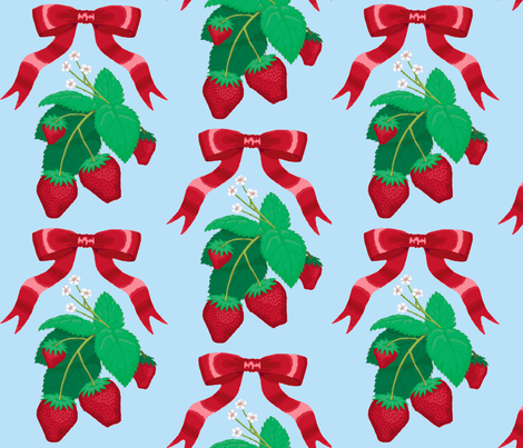 strawberry_ribbons_blue fabric by closetvictorian on Spoonflower - custom fabric
