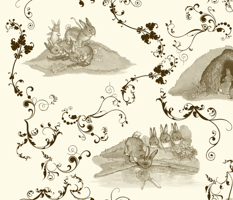 Bunny_Toile fabric by shirlene on Spoonflower - custom fabric