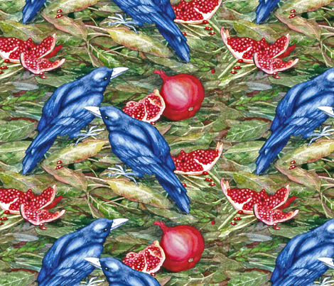 crows and pomegranate fabric by helenklebesadel on Spoonflower - custom fabric