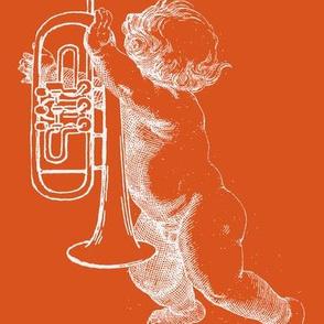 Wieckenberger Flügelhornengel, orange/weiß, Rücken-ch