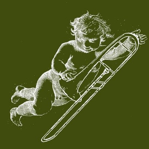 Wieckenberger Posaunenengel, grün/weiß, Vorderseite-ch