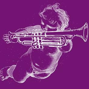 Wieckenberger Trompetenengel, lila/weiß, schauend-ch