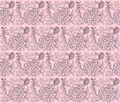 Pale Pink Floral Hydrangea fabric by amy_lou_who on Spoonflower - custom fabric