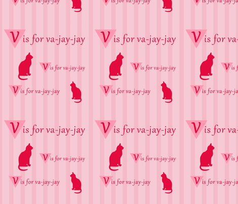 vajayjay kitty fabric by tallulah on Spoonflower - custom fabric