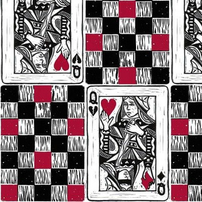 Chess Queen in Red and Black