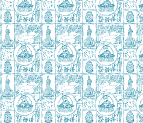 Easter_mini_toile_blue fabric by victorialasher on Spoonflower - custom fabric