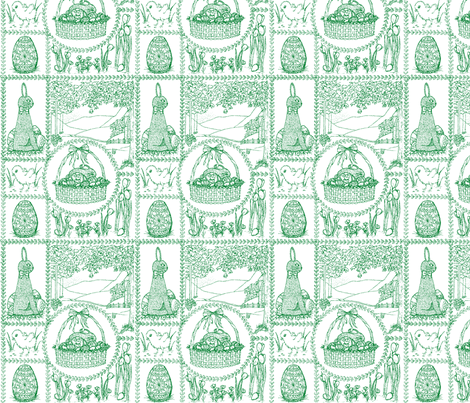 Easter_mini_toile_green fabric by victorialasher on Spoonflower - custom fabric
