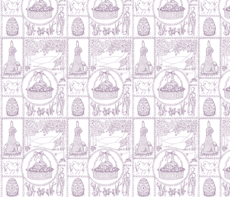 Easter_mini_toile_pink fabric by victorialasher on Spoonflower - custom fabric