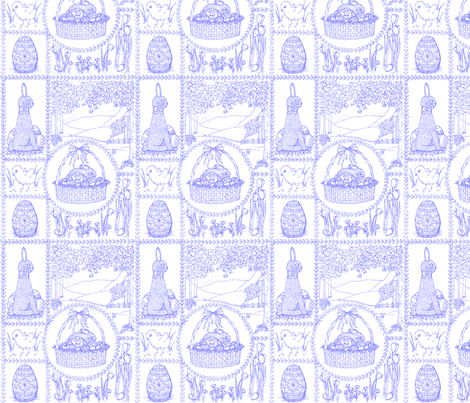 Easter_mini_toile_violet fabric by victorialasher on Spoonflower - custom fabric