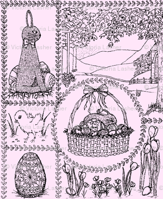 Easter_mini_toile_black_on_pink
