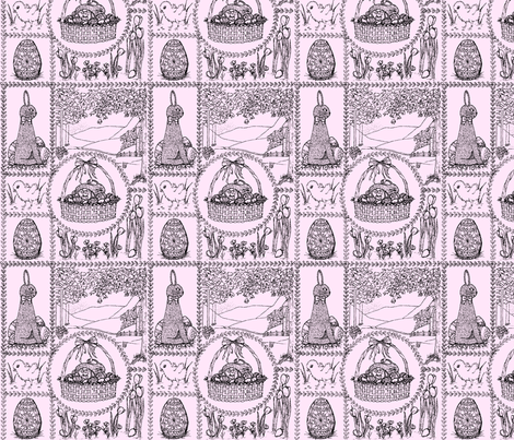 Easter_mini_toile_black_on_pink fabric by victorialasher on Spoonflower - custom fabric