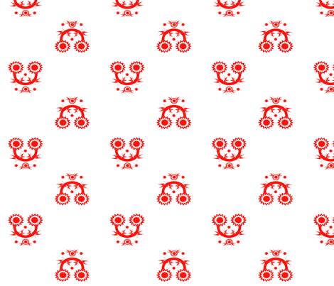 Retro Folk Toile - Red fabric by fine&splendidthings on Spoonflower - custom fabric