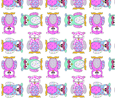 Feedsack Owls fabric by shirlene on Spoonflower - custom fabric