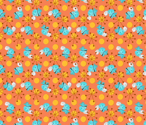 Atomic Elephant Salmon/Mustard colorway fabric by sculptor on Spoonflower - custom fabric